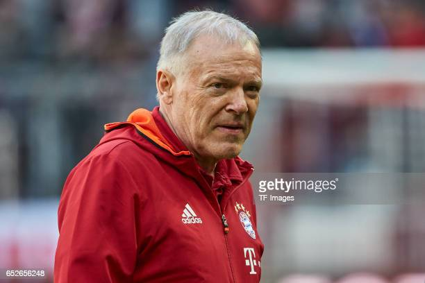 CoHead coach Hermann Gerland of Muenchen looks on during the Bundesliga match between Bayern Muenchen and Eintracht Frankfurt at Allianz Arena on...