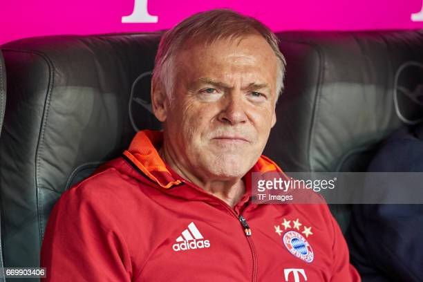CoHead coach Hermann Gerland of Munich looks on prior the Bundesliga match between Bayern Muenchen and Borussia Dortmund at Allianz Arena on April 8...