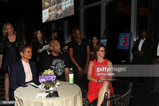 CoHead Education and Nonprofit Banking Group Wells Fargo/honoree Erin S Gore publicist Rachel Noerdlinger recording artist/ honoree Darryl DMC...