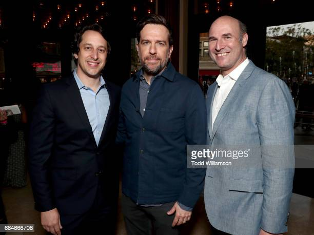 EVP Cohead of Production of Fox Searchlight Pictures David Greenbaum actor Ed Helms and EVP Cohead of Production of Fox Searchlight Pictures Matthew...