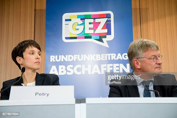 Coheads of the Alternative fuer Deutschland political party Frauke Petry and Joerg Meuthen are pictured during a new conference about an initiative...