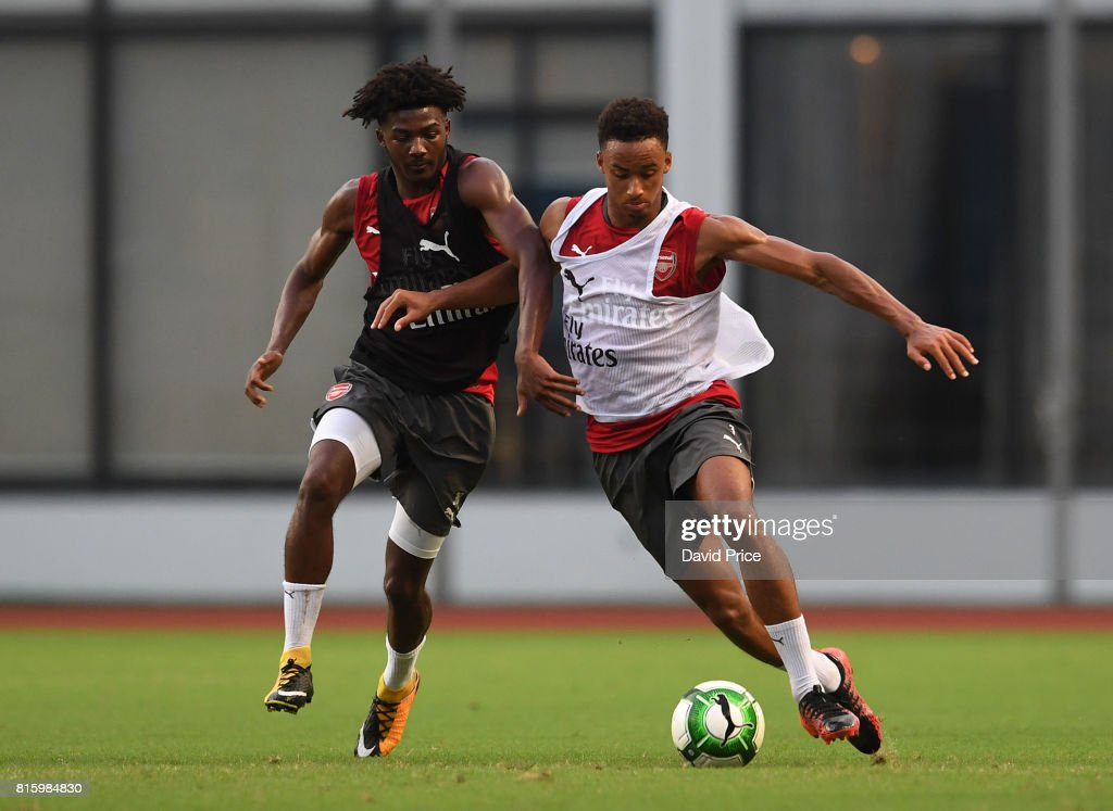 Cohen Bramall and Ainsley Maitland-Niles of Arsenal during an Arsenal Training Session at Yuanshen Sports Centre Stadium on July 17, 2017 in Shanghai, China.