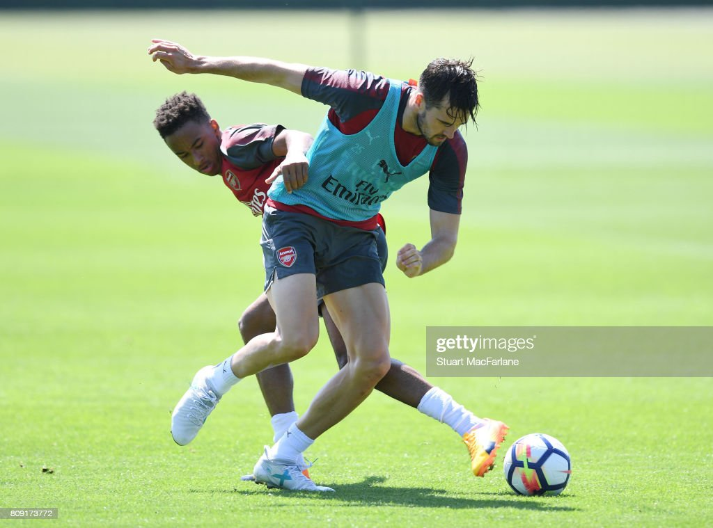 Cohen Bramall and Carl Jenkinson of Arsenal during a training session at London Colney on July 5, 2017 in St Albans, England.