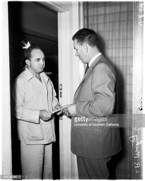 Cohen subpoena in death of Stompanato 17 May 1958 Mickey CohenCaptain Ray Borders Caption slip reads 'Photographer Gaze Date Reporter Hertel...
