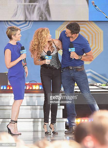 Cohost Amy Robach talks with actress Connie Britton and musician Luke Bryan on ABC's 'Good Morning America' at Rumsey Playfield Central Park on...