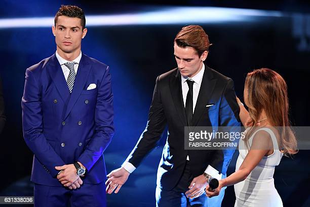 Cohost and US actress Eva Longoria gestures on stage next to the nominees for The Best FIFA Mens Player of 2016 award Real Madrid and Portugal's...