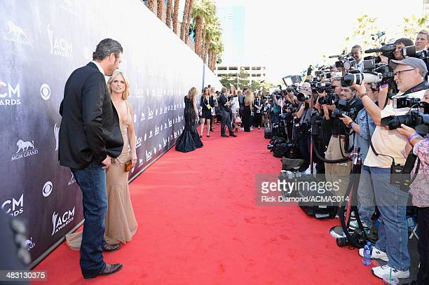 Cohost Blake Shelton and recording artist Miranda Lambert attend the 49th Annual Academy of Country Music Awards at the MGM Grand Garden Arena on...