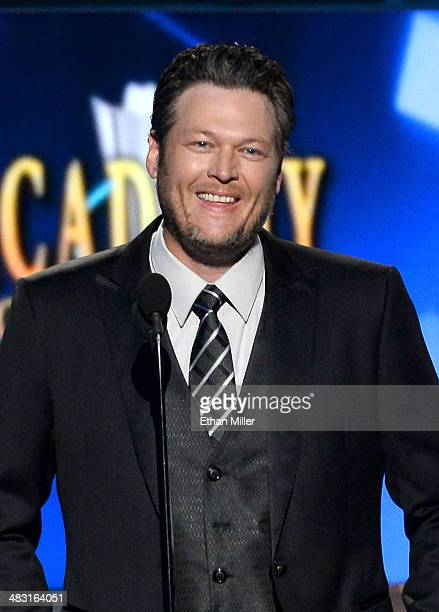 Cohost Blake Shelton speaks onstage during the 49th Annual Academy of Country Music Awards at the MGM Grand Garden Arena on April 6 2014 in Las Vegas...