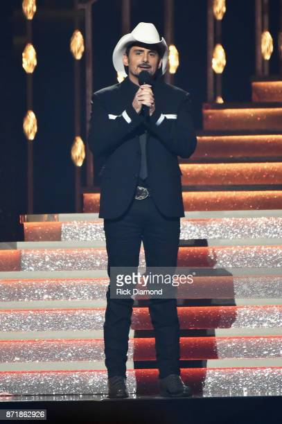 Cohost Brad Paisley speaks onstage at the 51st annual CMA Awards at the Bridgestone Arena on November 8 2017 in Nashville Tennessee