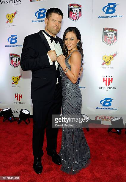 Cohost Brian Stann and his wife Teresa Stann arrive at the sixth annual Fighters Only World Mixed Martial Arts Awards at The Palazzo Las Vegas on...