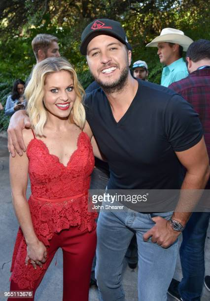 Cohost Candace Cameron Bure and Luke Bryan pose backstage at the 2018 iHeartCountry Festival By ATT at The Frank Erwin Center on May 5 2018 in Austin...