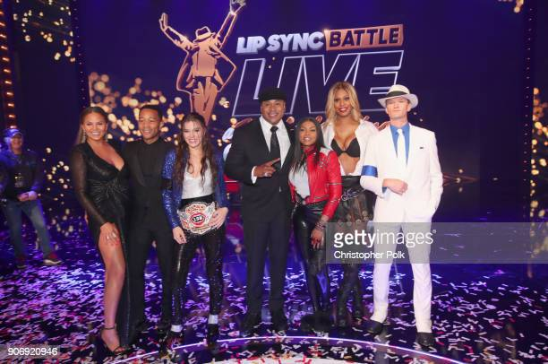 Cohost Chrissy Teigen John Legend LSB champion Hailee Steinfeld cohost LL Cool J Taraji P Henson Laverne Cox and Neil Patrick Harris pose onstage...