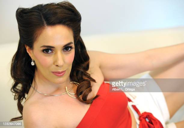 """Co-host Christina DeRosa On Set of her show """"Kittens On The Couch"""" held at Private Location on May 1, 2021 in Studio City, California."""