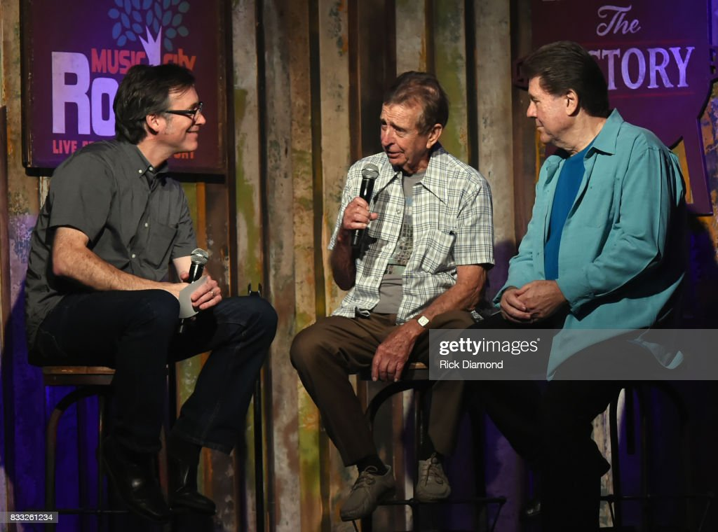 Co-Host Craig Havighurst Recording Artists Lloyd Green and Jaydee Maness during Music City Roots at The Factory At Franklin on August 16, 2017 in Franklin, Tennessee.