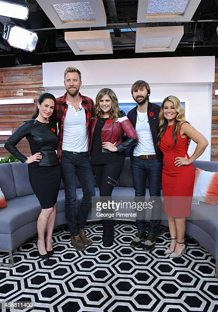 Cohost Cynthia Loyst Charles Kelley Hillary Scott Dave Haywood of Lady Antebellum and cohost Melissa Grelo appear the The Social on November 11 2014...