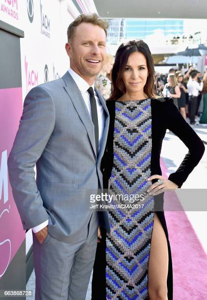 Cohost Dierks Bentley and Cassidy Black attend the 52nd Academy Of Country Music Awards at Toshiba Plaza on April 2 2017 in Las Vegas Nevada