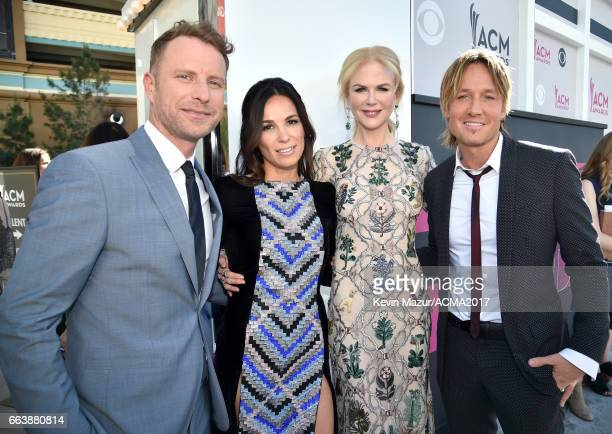 Cohost Dierks Bentley Cassidy Black actor Nicole Kidman and recording artist Keith Urban attend the 52nd Academy Of Country Music Awards at Toshiba...