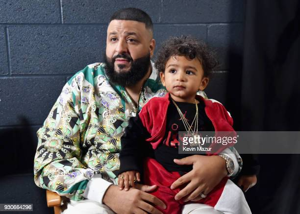 Cohost DJ Khaled and Asahd Tuck Khaled attend the 2018 iHeartRadio Music Awards which broadcasted live on TBS TNT and truTV at The Forum on March 11...