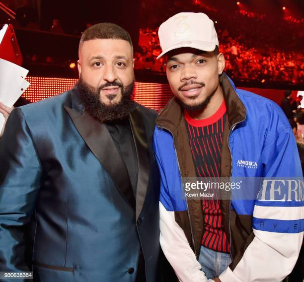 Cohost DJ Khaled and honroee Chance The Rapper attend the 2018 iHeartRadio Music Awards which broadcasted live on TBS TNT and truTV at The Forum on...