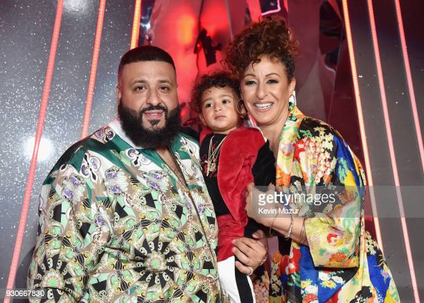 Cohost DJ Khaled Asahd Tuck Khaled and Nicole Tuck attend the 2018 iHeartRadio Music Awards which broadcasted live on TBS TNT and truTV at The Forum...