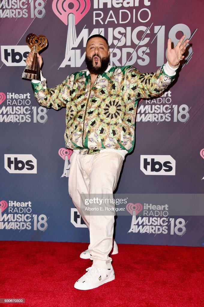 Co-host DJ Khaled, winner of Hip-Hop Song of the Year for 'Wild Thoughts,' poses in the press room during the 2018 iHeartRadio Music Awards which broadcasted live on TBS, TNT, and truTV at The Forum on March 11, 2018 in Inglewood, California.