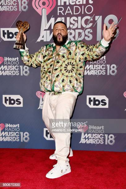 Cohost DJ Khaled winner of HipHop Song of the Year for 'Wild Thoughts' poses in the press room during the 2018 iHeartRadio Music Awards which...