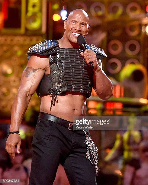 Cohost Dwayne Johnson speaks onstage during the 2016 MTV Movie Awards at Warner Bros Studios on April 9 2016 in Burbank California MTV Movie Awards...