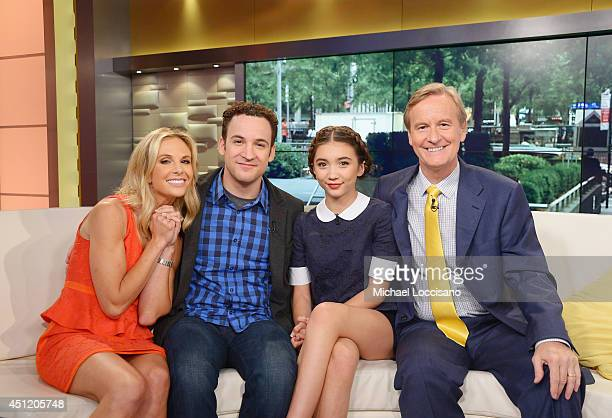 Cohost Elisabeth Hasselbeck actors Ben Savage and Rowan Blanchard and cohost Steve Doocy appear on 'Fox And Friends' at FOX Studios on June 25 2014...