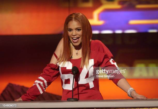 Cohost Faith Evans introduces a performer at the 16th Annual Soul Train Music Awards at the Los Angeles Memorial Sports Arena March 20