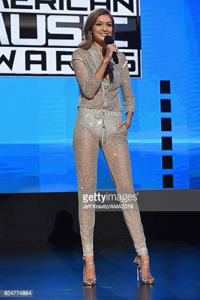 Cohost Gigi Hadid speaks onstage at the 2016 American Music Awards at Microsoft Theater on November 20 2016 in Los Angeles California