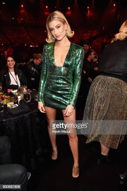 Cohost Hailey Baldwin attends the 2018 iHeartRadio Music Awards which broadcasted live on TBS TNT and truTV at The Forum on March 11 2018 in...