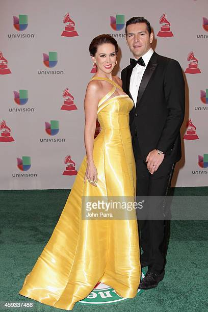 Cohost Jacqueline Bracamontes and Martín Fuentes attend the 15th annual Latin GRAMMY Awards at the MGM Grand Garden Arena on November 20 2014 in Las...