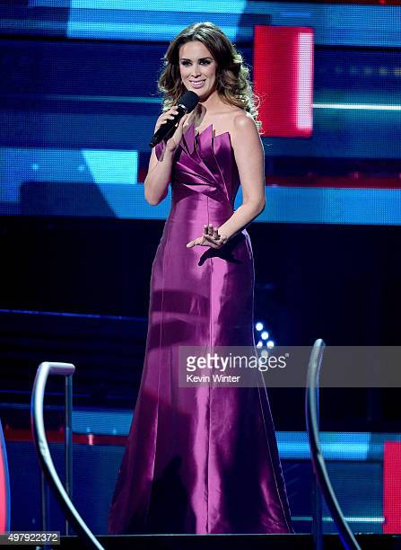 Cohost Jacqueline Bracamontes speaks onstage during the 16th Latin GRAMMY Awards at the MGM Grand Garden Arena on November 19 2015 in Las Vegas Nevada