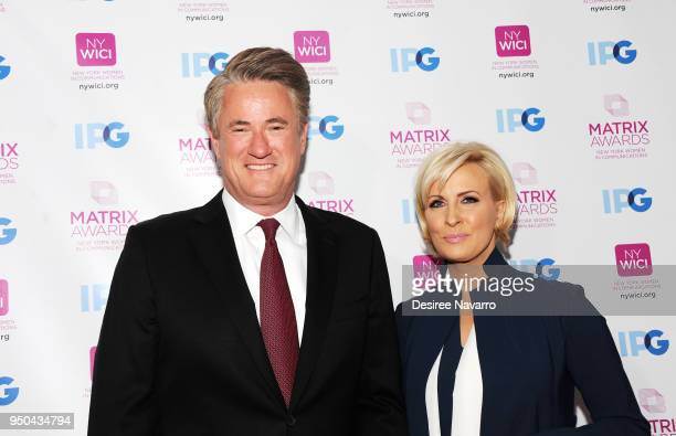 TV cohost Joe Scarborough and news presenter Mika Brzezinski attend 2018 Matrix Awards at Sheraton New York Times Square on April 23 2018 in New York...