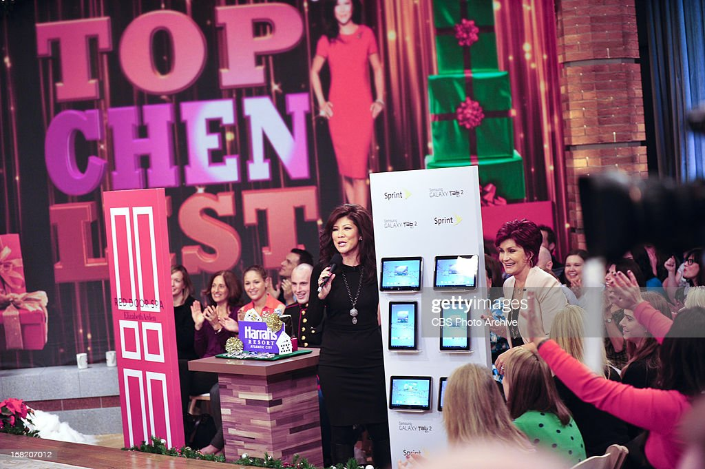 "Co-host Julie Chen presents her annual ""Top Chen List"" of holiday gift items on THE TALK to kick of the special week of holiday shows broadcasting from New York City, Monday, December 10, 2012 on the CBS Television Network. Julie Chen, left, and Sharon Osbourne, shown."