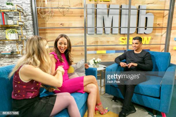 Cohost Kerri Dougherty Amber Stevens West and cohost Tim Kash on set of The IMDb Show on December 1st 2017 in Studio City California