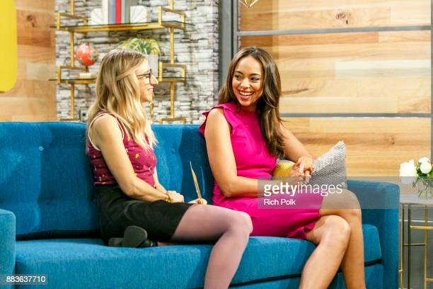 Cohost Kerri Dougherty and Amber Stevens West on the set of The IMDb Show on December 1st 2017 in Studio City California