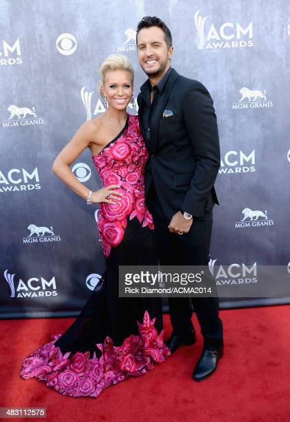 Cohost Luke Bryan and Caroline Boyer attend the 49th Annual Academy of Country Music Awards at the MGM Grand Garden Arena on April 6 2014 in Las...