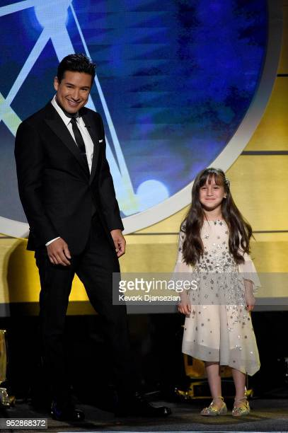 Co-host Mario Lopez and Gia Francesca Lopez speak onstage during the 45th annual Daytime Emmy Awards at Pasadena Civic Auditorium on April 29, 2018...