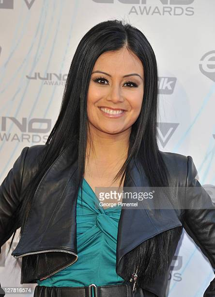 CP24 cohost Melissa Grelo poses on the red carpet at the 2011 Juno Awards at Air Canada Centre on March 27 2011 in Toronto Canada
