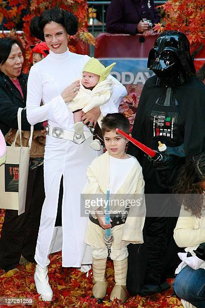 Cohost Natallie Morales and sons Luke and Josh celebrate Halloween on NBC's Today at Rockefeller Plaza on October 31 2008 in New York City