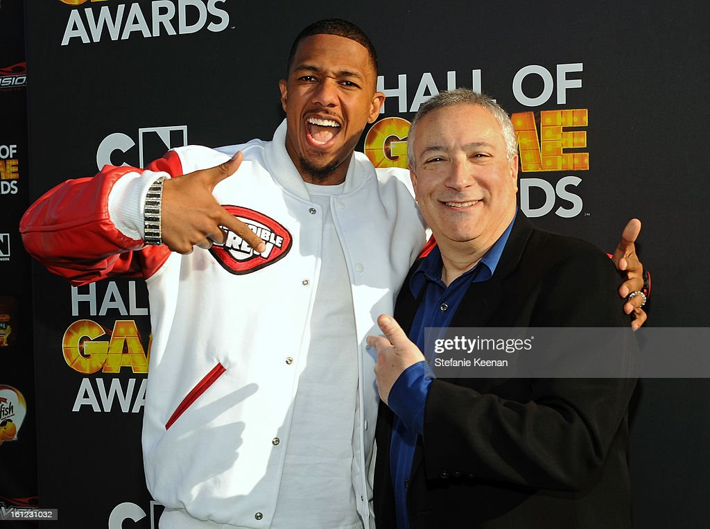 Co-Host Nick Cannon and Cartoon Network president/COO Stuart Snyder attend the Third Annual Hall of Game Awards hosted by Cartoon Network at Barker Hangar on February 9, 2013 in Santa Monica, California. 23270_002_SK_1021.JPG