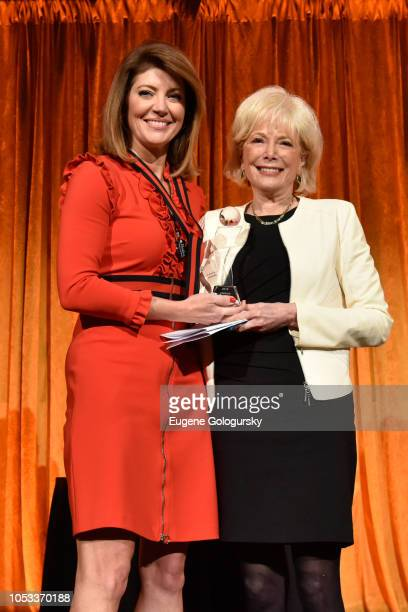Cohost Norah O'Donnell and Winner of the Lifetime Achievement Award Lesley Stahl pose onstage during the International Women's Media Foundation's...