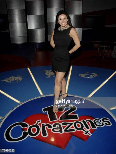 Cohost of 12 Corazones Penelope Menchaca poses as she promotes the dating game show that combines love's secrets with the mystery of astrology...