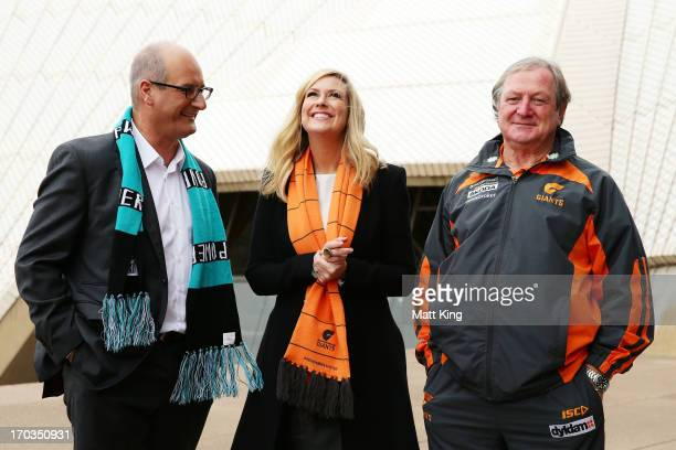 Cohost of 'Sunrise' and Port Adelaide Power Chairman David Koch cohost of 'Sunrise' Melissa Doyle and Giants coach Kevin Sheedy arrive at a Greater...