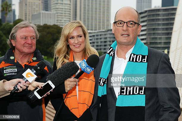 Cohost of 'Sunrise' and Port Adelaide Power Chairman David Koch speaks to the media as Giants coach Kevin Sheedy and cohost of 'Sunrise' Melissa...
