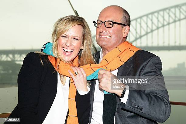 Cohost of 'Sunrise' Melissa Doyle and cohost of 'Sunrise' and Port Adelaide Power Chairman David Koch pose during a Greater Western Sydney Giants AFL...