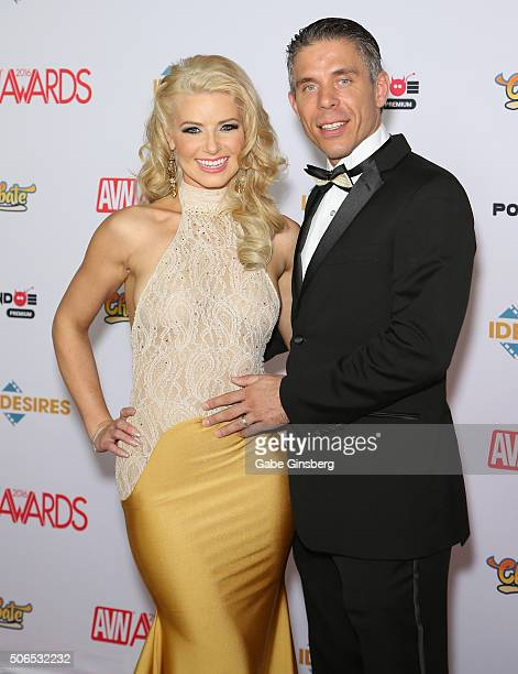 Cohost of the 2016 Adult Video News Awards adult film actress Anikka Albrite and her husband adult film actor/director Mick Blue arrive at the Hard...