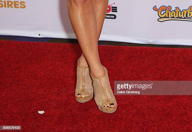 Cohost of the 2016 Adult Video News Awards comedian/actress Kate Quigley shoes detail arrives at the Hard Rock Hotel Casinoon January 23 2016 in Las...