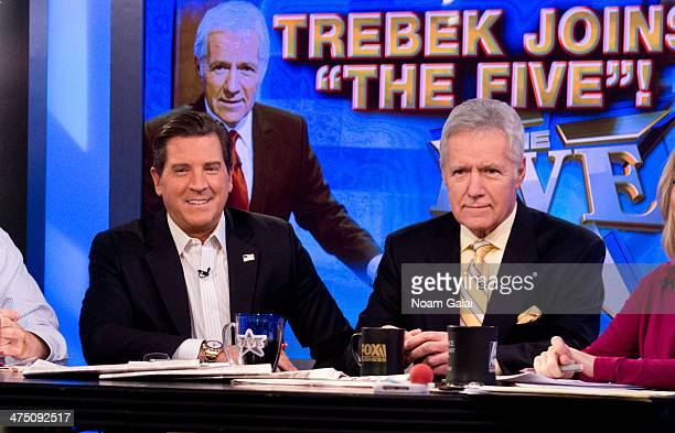 CoHost of 'The Five' Eric Bolling and TV personality Alex Trebek attend FOX News' 'The Five' at FOX Studios on February 26 2014 in New York City
